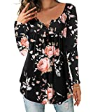 DEMO SHOW Donna Maglie a Manica Lunga Sciolto V Collo Bottone Camicia di Henley Floreale Pieghettata Bluse Tunica Tops T Shirt (Nero, 2XL)