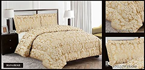 Quilted 3 Pieces Bedspread Modern Floral Jacquard Luxury Comforter Bedding Set Includes 1 x Bedspread/Comforter & 2 x Shams Pillow Cases Double King And Super King Size (KING,