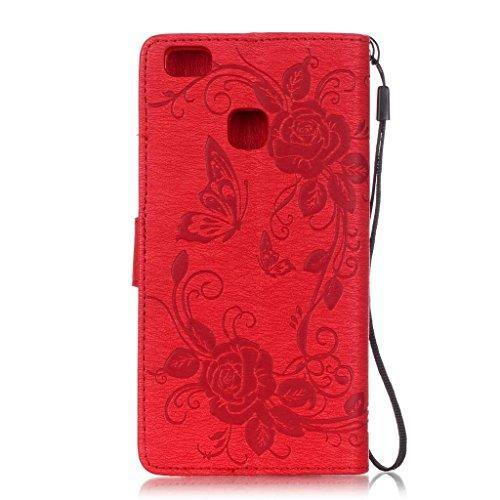 iPhone 6s / iPhone 6 Hülle mit Frei Hartglas Displayschutzfolie, BoxTii Apple iPhone 6 / iPhone 6s Schutzhülle im Bookstyle mit Bändselloch Kartenfächern Ständer Funktion Magnetverschluss, Kratzfeste  #1 Rot