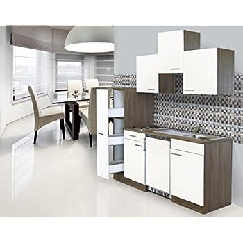 Respekta einbau mini single küche küchenblock 180cm eiche york nachbildung weiß