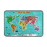 Mi Diario Cartoon Mapa del Mundo con Animales Felpudo 15,7x 23,6, Sala de Estar Dormitorio Cocina Cuarto de baño Decorativo Ligero único Impreso Alfombra alfombras