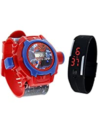 Pappi-Haunt - Quality Assured - Kids Special Toys - Pack of 2 Spiderman Projector Band + Jelly Slim Black Digital Led Band for Kids, Children