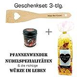 """Geschenkset 3-tlg. """"Sprüche"""" / Herz-Nudeln""""Nudel dir was...!"""", Premium Salz """"Für die richtige Würze im Leben"""" und Herz-Pfannenwender mit Spruch """"Kiss the cook!""""/ Geburtstagsgeschenk / kreatives Geschenk / Sprüche / Frauen / Kochen / Männer / Nudeln"""