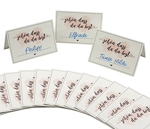 """Premium Tischkarten Platzkarten (50 Stück) """"schön, dass du da bist"""" für Hochzeit, Geburtstag, Taufe und andere Feiern - 2"""