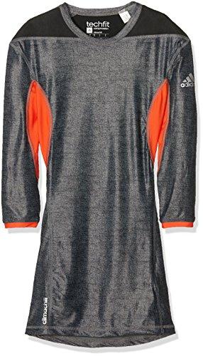 adidas Herren Shirt Techfit Climachill Black Melange/Semi Solar Red