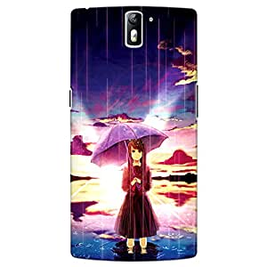 CrazyInk Premium 3D Back Cover for Oneplus One - Anime Girl in Rain