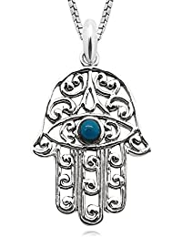 Young & Forever D'vine Collection Long Silver Chain Hamsa Hand Charm Pendant Necklace For Women / Girls N657