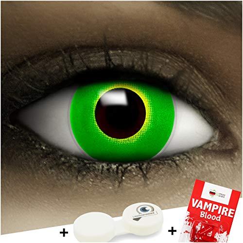 Farbige Kontaktlinsen ohne Stärke Zombie Grün + Kunstblut Kapseln + Kontaktlinsenbehälter, weich ohne Sehstaerke in green, 1 Paar Linsen (2 Stück)