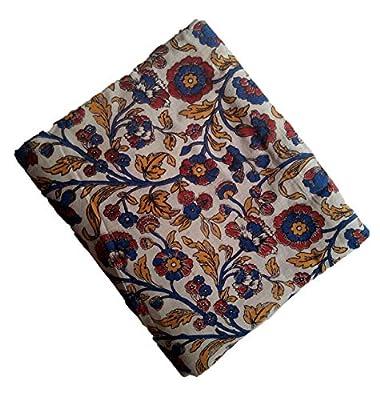 Perennial Women Cotton Kalamkari Blouse piece 100cms Florals Beige Base
