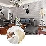 KINLO 5pcs 3D Ziegel Tapete, 77 x 70 cm Wandaufkleber Stereo Wandtattoo Papier Abnehmbare selbstklebend Tapete für Schlafzimmer Wohnzimmer moderne Hintergrund (Weiß)