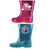 Girls Infant Disney Frozen Elsa Anna Character Peppa Pig Glitter Wellington Rain Snow Boot Shoe Size 4-12