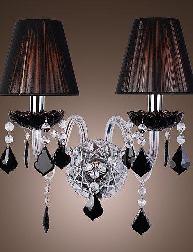 Goud lampada da parete mamaroneck - applique in cristallo con paralume in stoffa con 2 lampadine , 220-240v