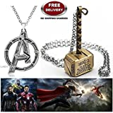 (2 Pcs AVENGERS SET) - AVENGERS SILVER LARGE LOGO & THOR HAMMER (GOLD) IMPORTED METAL PENDANTS WITH CHAIN. LADY HAWK DESIGNER SERIES 2018. ❤ ALSO CHECK FOR LATEST ARRIVALS - NOW ON SALE IN AMAZON - RINGS - KEYCHAINS - NECKLACE - BRACELET &