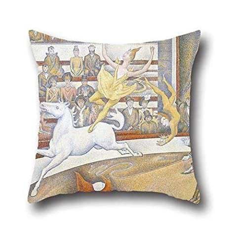 Throw Cushion Covers Of Oil Painting Georges Seurat - The Circus,for Wedding,kids Girls,couch,girls,divan,kids Room 20 X 20 Inches / 50 By 50 Cm(twin Sides)