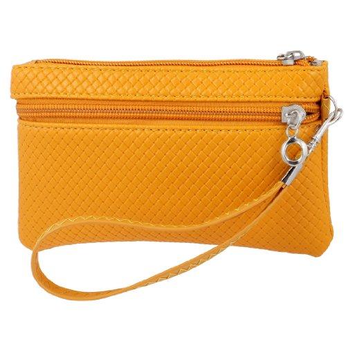 Lady chiusura a zip motivo a rete Arancione custodia a portafoglio in ecopelle borsa colore Arancione