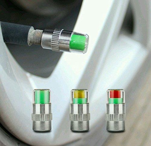 4pcs Reifendruck, Autoreifen Monitor Manometer, Cap Sensor Anzeige 3 Farben Augen Alarm Luftdruckmesse (Aufgeblasen Cap)