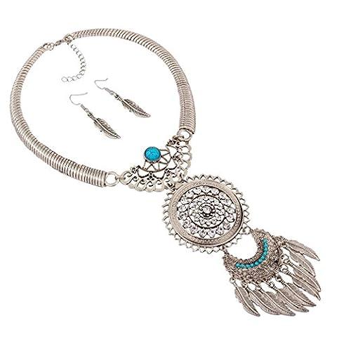Boucle D Oreille Ethnique - YAZILIND Femmes Bohemian Silver Power Feather Tassel