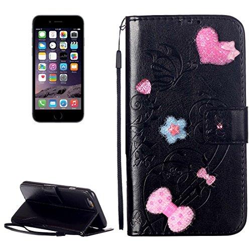 Für iPhone 6 u. 6s Herz-Diamant verkrustete Blumen, die horizontalen Schlag-ledernen Fall mit Halter u. Karten-Schlitzen u. Mappe u. Abzuglinie für iPhone 6 u. 6s prägen by diebelleu ( Color : Magenta Black