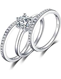JewelryPalace Anillo Conjunto 1.5ct Zirconia Cúbica 3 Pcs Aniversario Banda Boda Solitario Compromiso Nupcial Plata