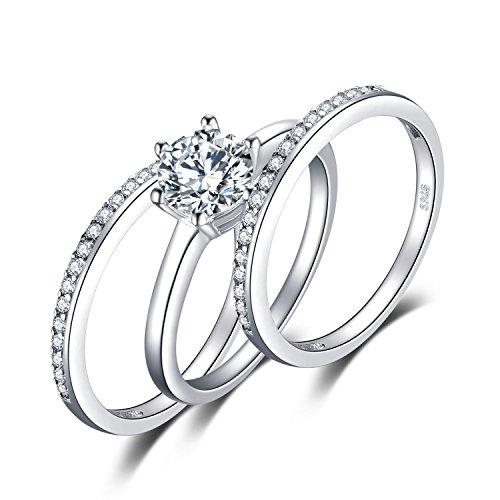 JewelryPalace 1.5ct Zircone Cubique 3 Pcs Anniversaire Mariage Band Solitaire Fiançailles Bague De mariée Ensembles en Argent 925