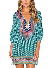 20778b767c76 JiaMeng Damen 3 4 Ärmel geometrisches Muster Vintage Print lose Kleid mit V  Ausschnitt Chiffon