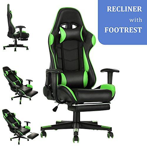 Soddyenergy Bürostuhl mit Abnehmbarer Fußstütze, Rennsport Autositz Gaming Sessel Computer Executive Stühle, Extra 2 Kissen grün (Executive Stuhl Kissen)
