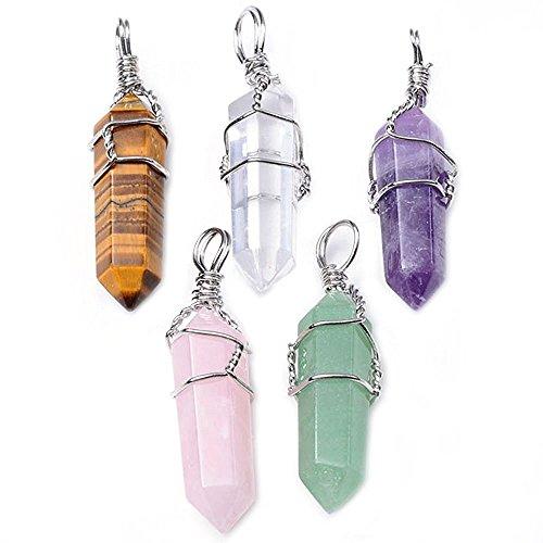 HARMONIZE® Natural Ametista + Quarzo Rosa + Tiger Eye + Aventurine verde + cristallo di rocca Healing Point Chakra i pendenti per fare gioielli collana