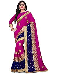 Siddeshwary Fab Women Pink Embrodairy Saree With Blouse Pieace
