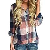 SEWORLD 2018 Damen Mode Sommer Herbst Frauen Strand Schal Beiläufige Passende Farbe Langarm Button Lose Plaid Shirt Bluse Top(Orange,EU-40/CN-S)