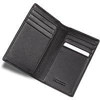 HISCOW pieghevole porta carte di credito, colore: nero, con 8 scomparti, in pelle di vitello italiana