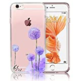 Custodia iphone 6s plus Silicone, Sunroyal® [TPU Shock-Absorption] [Antigraffio] Trasparente TPU Gel Silicone Case Cover Cristallo Chiaro Skin Protettiva Cassa Bumper UltraSottili Soft Morbido Slim Dipinto Cartoon Copertura Shell per Apple iPhone 6s plus iPhone 6 plus ( 5.5'), il dente di leone viola immagine
