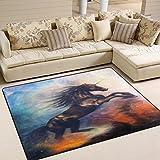 Use7 Art Ölgemälde Einhorn Tanzteppich Teppich Teppich für Wohnzimmer Schlafzimmer, Textil, Mehrfarbig, 203cm x 147.3cm(7 x 5 feet)