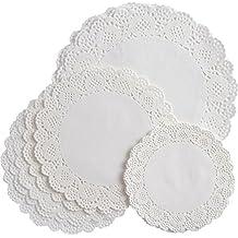 108 Stück Weiße Runde Papier Deckchen Spitze Deckchen Kuchen Verpackung Papier Pad für Party Hochzeit Dekorationen, 3 Größen