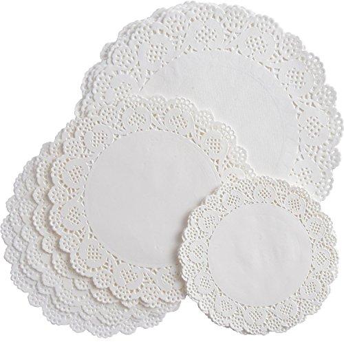 nde Papier Deckchen Spitze Deckchen Kuchen Verpackung Papier Pad für Party Hochzeit Dekorationen, 3 Größen (Weiße Deckchen)