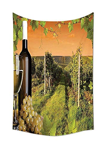 daawqee Winery Collection Bottle and Glass of Wine and The Vineyards of Sunset Countryside Romantic Evening View Bedroom Living Room Dorm Green Orange Unique Home Decor