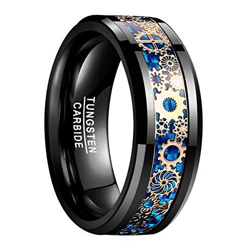 en Damen Ring Schwarz + Blau 8mm aus Wolfram mit goldenem Zahnrad Mechanik Design für Lifestyle Fashion Party Fashing Hochzeit Größe 67 ()