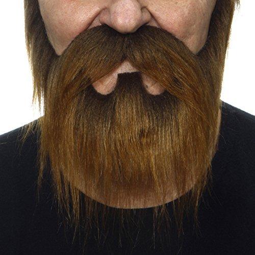 Kostüm Behaarte Mann - Mustaches Selbstklebende Neuheit Nomad Fälscher Bart und Fälscher Schnurrbart für Erwachsene Braun Farbe