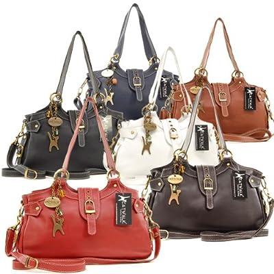 Catwalk Collection Handbags Nicole - Bolso al hombro de cuero para mujer