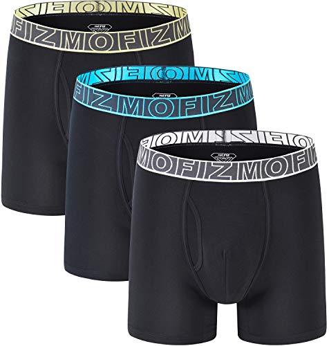 JINSHI Herren 3er Pack Länger Unterhosen Bambus Low Rise Boxershorts Atmungsaktiv Underwear Trunk Schnelltrocknend Schwarz Size 2XL -