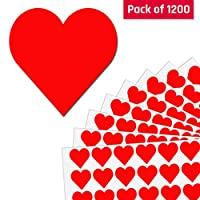 2.5cm Red Heart Sticker Labels - 50 Sheets, Pack of 1200