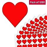 2,5cm Cuore Rosso Etichette Adesive - 50 fogli, Pacchetto di 1200 adesivi