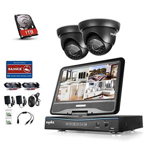 SANNCE Überwachungsset Videoüberwachung All in one 10,1 Zoll Display 4CH 720P DVR Recorder Überwachungssystem mit 2 Kameras 720P für innen und außen Bereich mit 1TB Festplatte