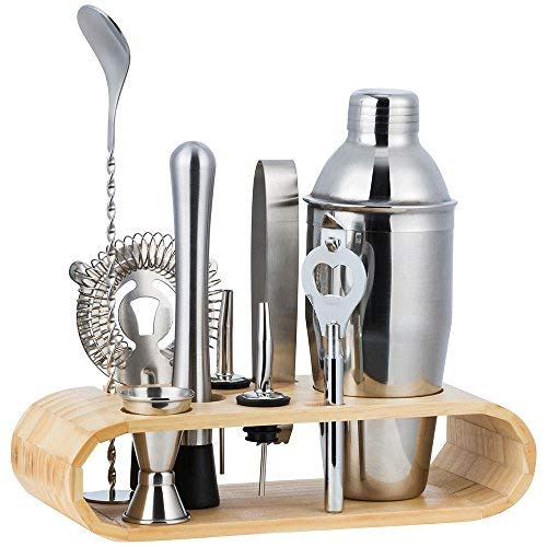 Halove, set di shaker per cocktail da 750 ml, con supporto in legno, accessori per la casa, bar, cocktail, set regalo modello 1 (10 pezzi/set).