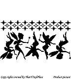 5, Motiv Feen, 24 cm, 29 cm (Sterne), 5 x 60 cm 44 cm, Farbe Schwarz, Fee, sprite, peri, fay, Kinder Zimmer, Schlafzimmer, Wand-Aufkleber, Vinyl, Fenster und Wand Aufkleber, Wand Windows-Art Wandaufkleber, Dekoration, Vinylaufkleber ThatVinylPlace