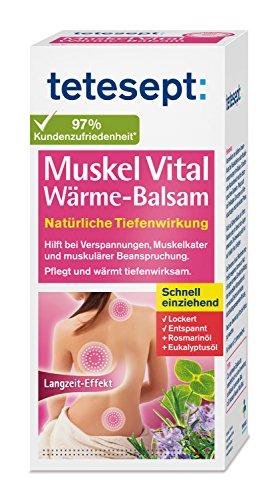 tetesept Muskel Vital Wärme-Balsam - Wärmender Pflegebalsam zur äußeren Anwendung mit ätherischen Ölen - hilft bei Verspannungen, Muskelkater und muskulärer Beanspruchung - 1 x 100 ml Tube
