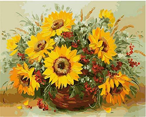 YEESAM ART Neuheiten Malen nach Zahlen Erwachsene Kinder, Sonnenblumen & Blumenkorb 40x50 cm Leinen Segeltuch, DIY ölgemälde Weihnachten Geschenke