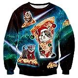 Bfustyle 3D Lustige Pizza Katze Print Kleid Lässig mit Langen Ärmeln Sweatshirt