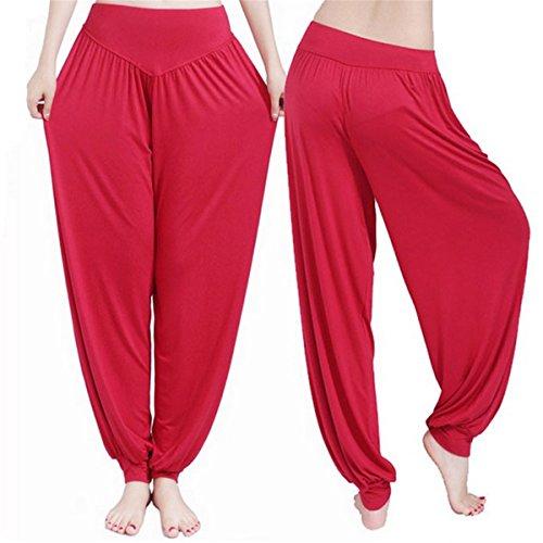 ECYC Frauen Red Yoga Hosen Tanz Taichi Länge Bloomers No Shrink Plus Size