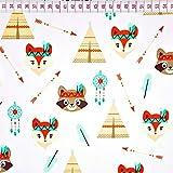 Fuchs Indianer 100% Baumwolle Baumwollstoff Kinderstoff Meterware Handwerken Nähen Stoff Tiermotiv 100x160cm 1 Meter (Fuchs Indianer)