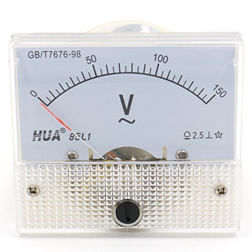 heschen Rectangle Analog-150V Rechteck Panel Mounted Spannung Meter Voltmeter Tester AC 0-150V Klasse 2,5weiß -